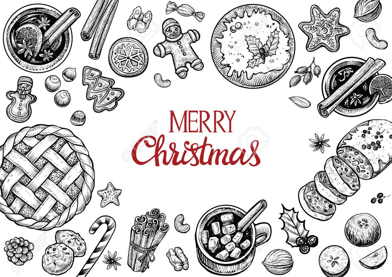 クリスマス ケーキと菓子トップ フレームを表示します手にはベクトル