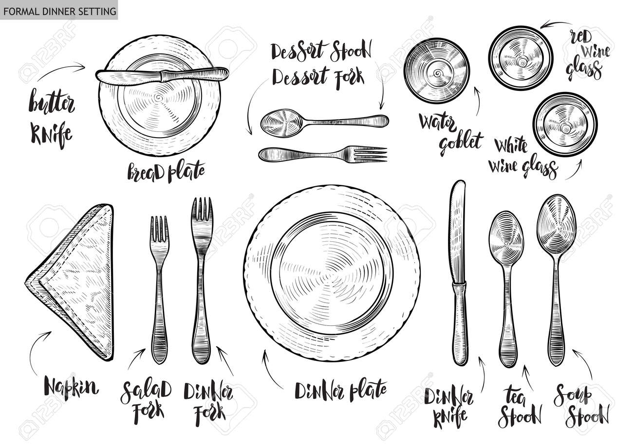 Table setting, top view. Vector hand drawn illustrations with original custom font captions. - 91205316