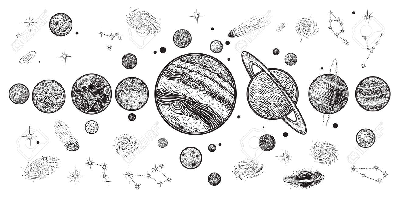 Planets and space hand drawn vector illustration. Solar system with satellites. - 97525085