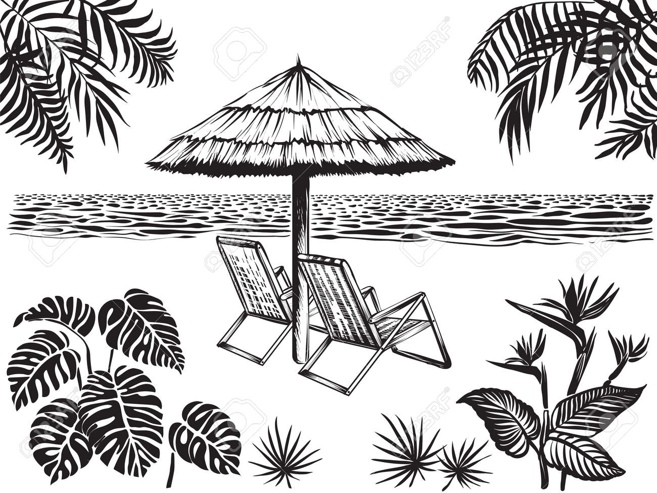 Beach Scenery View With Tropical Leaves Of Palm Monstera And Royalty Free Cliparts Vectors And Stock Illustration Image 110041992 Tropical paradises are amazing to visit and even better to live near they boast a mixture of green and pinkish red leaves that are sure to add a pop of color and class to your customer's landscape. beach scenery view with tropical leaves of palm monstera and