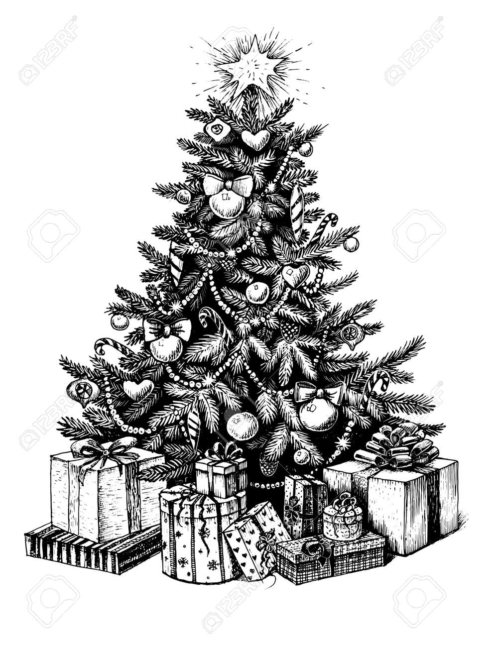 Hand Drawn Christmas Tree And Presents Vector Vintage Illustration