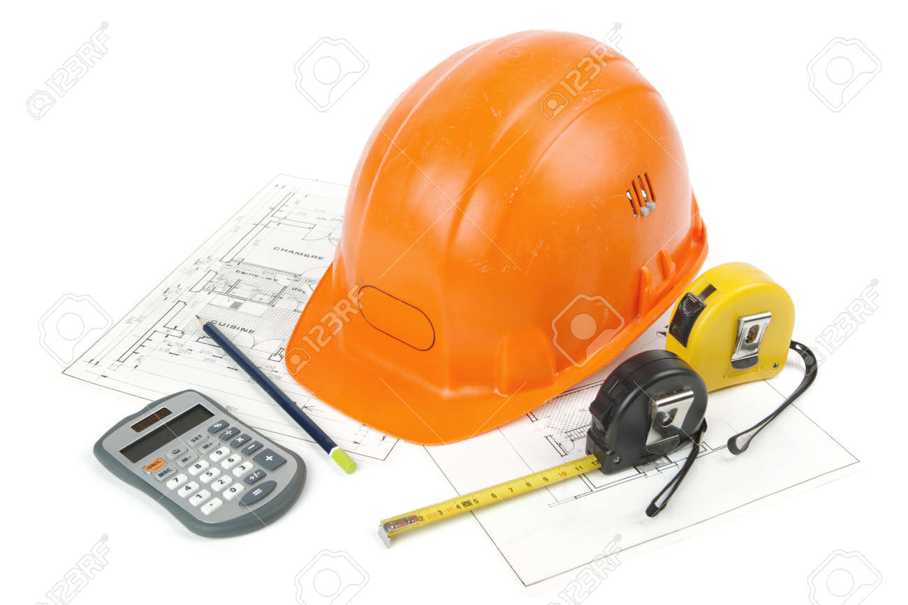 Concept of architecture and construction of the building with hard hat posed on paper plans, tape measures, a pencil and a calculator. photo shooting cut out and isolated on white background - 163654576