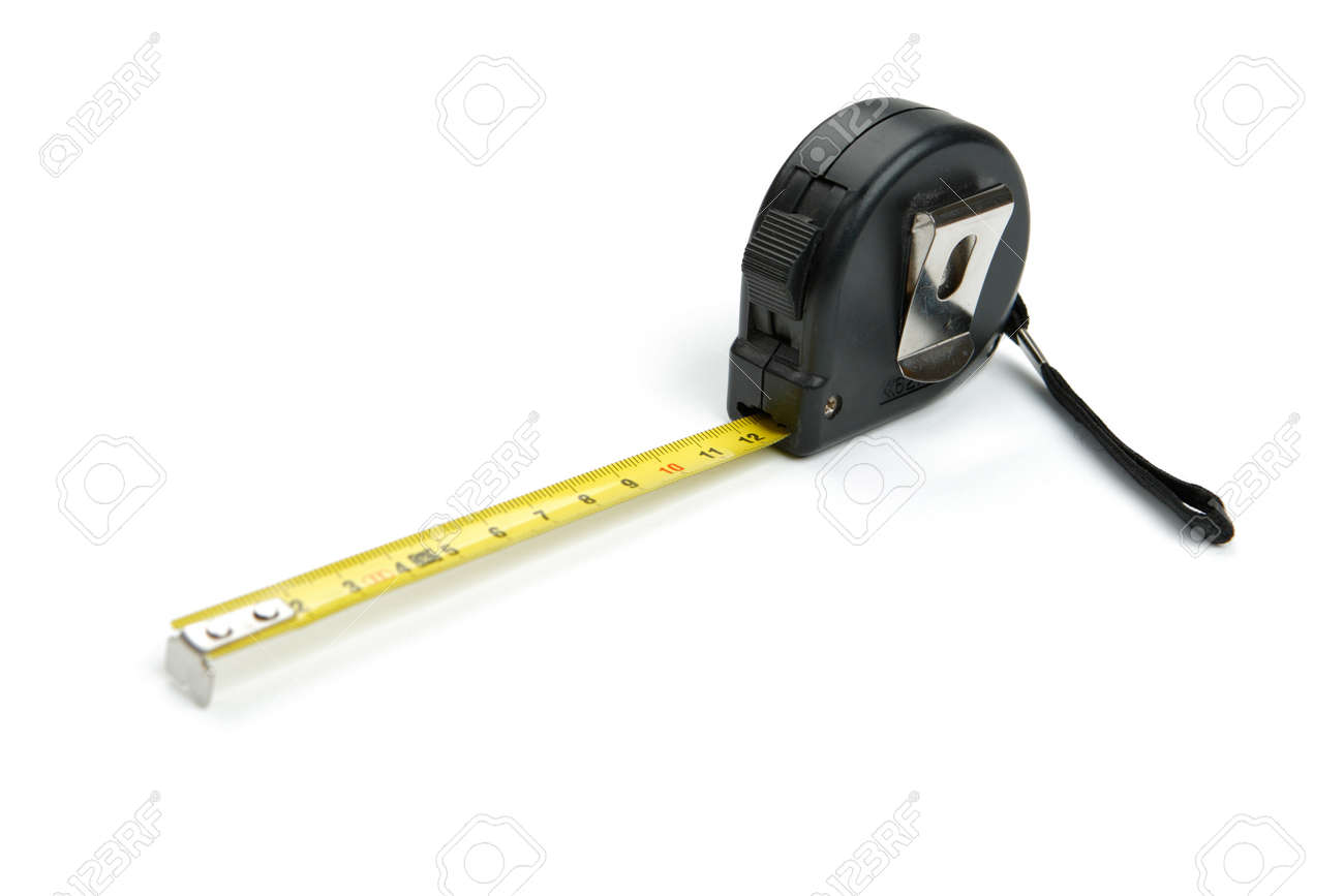 Black tape measure unrolled or measuring tape, cut out and isolated on white background - 163654706
