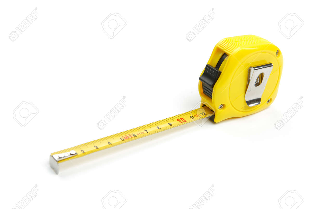 Partially unwound yellow tape measure, cut out and isolated on white background - 163654930