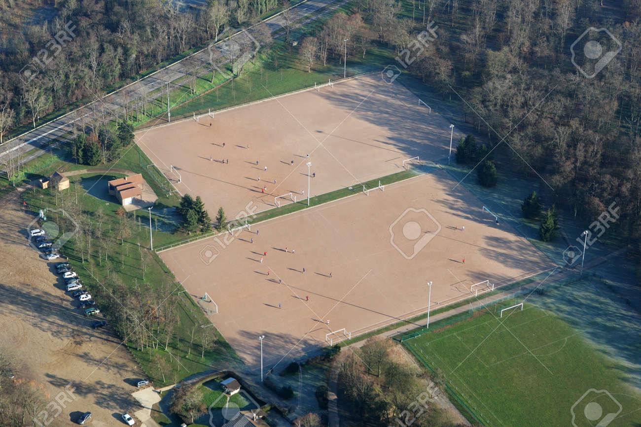 Aerial photography of soccer field in Mantes-la-Jolie, Yvelines department, Ile-de-France region, France - January 03, 2010 - 164480936