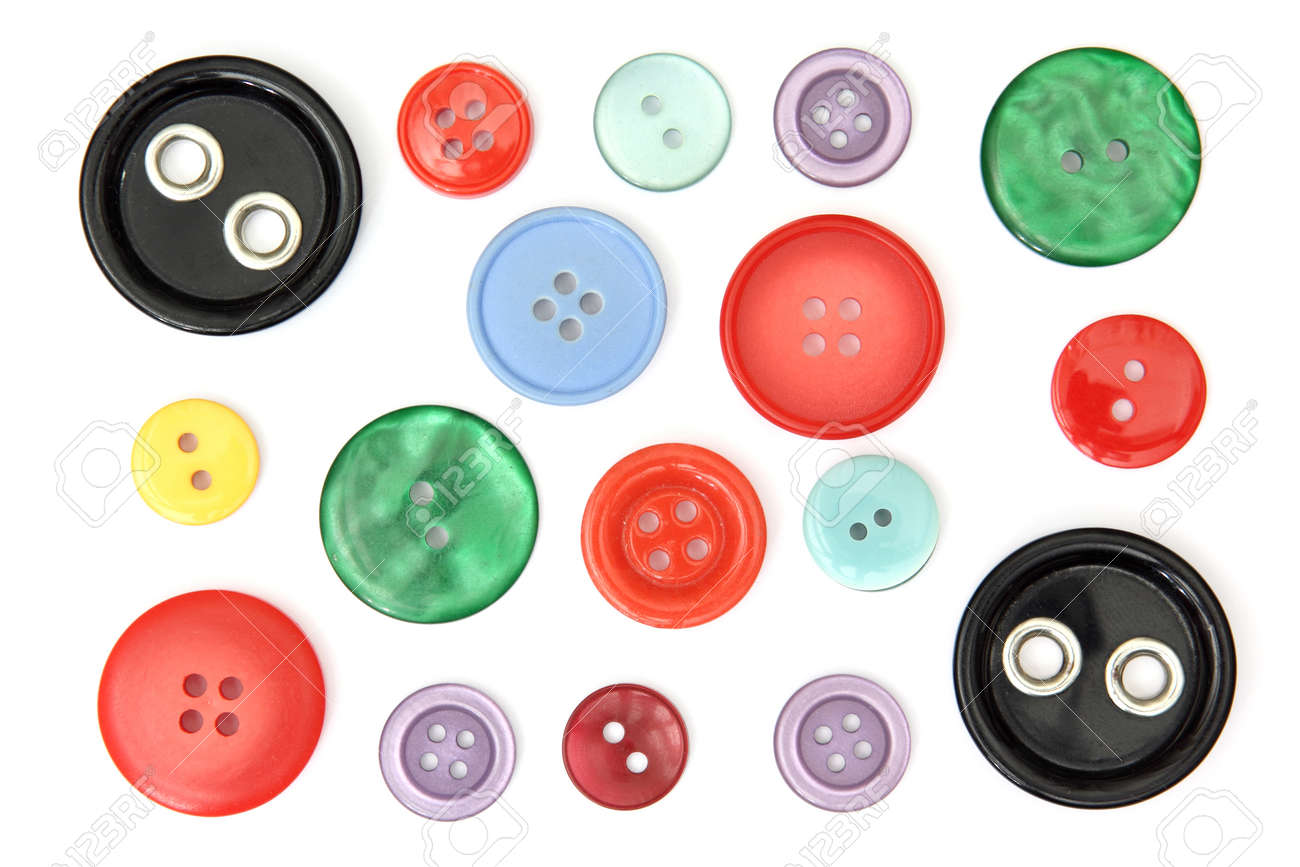 Set of different and colored sewing buttons, cut out and isolated on white background - 164879450