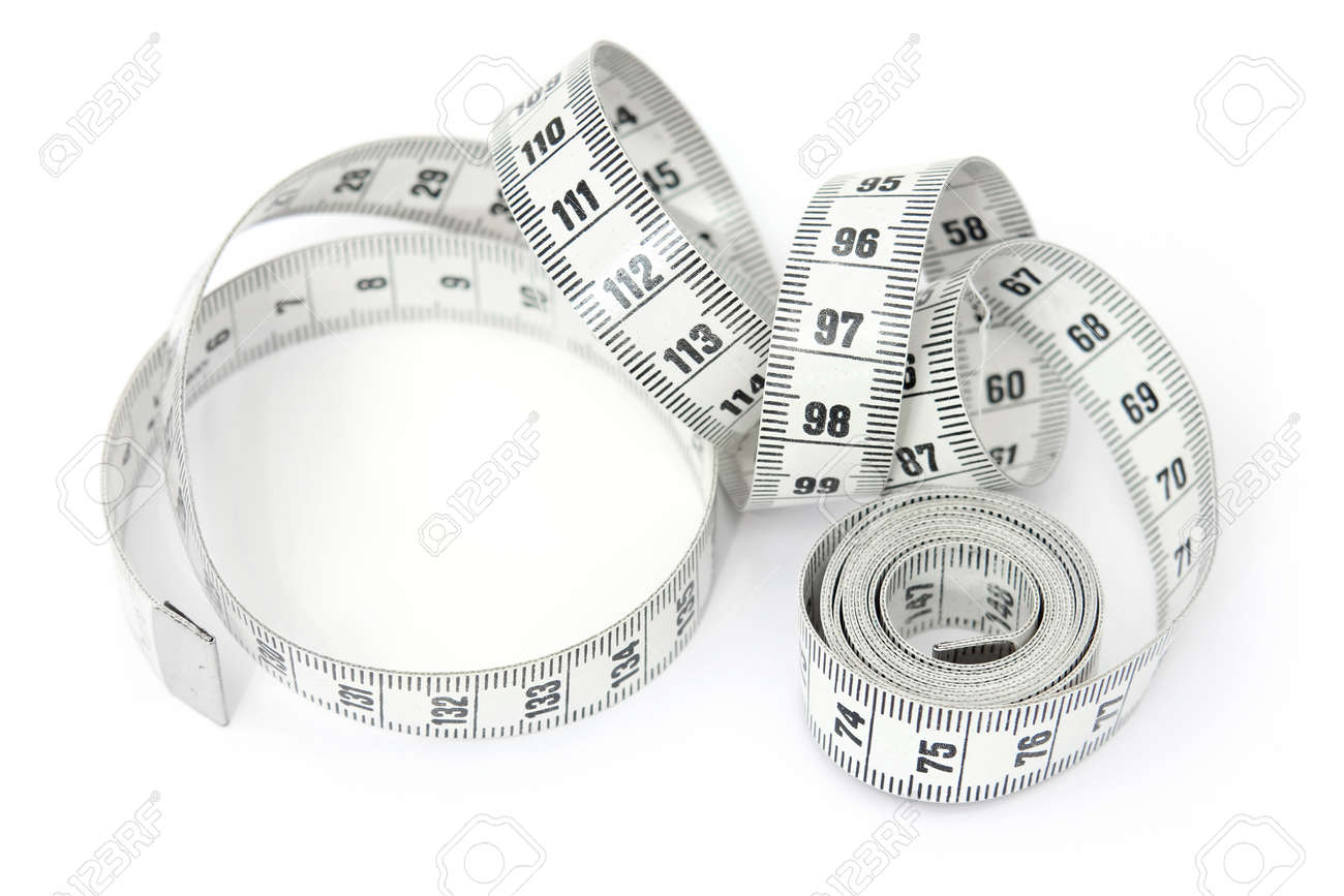 Uncoiled spiral dressmaker's tape measure isolated on white background - 164747833