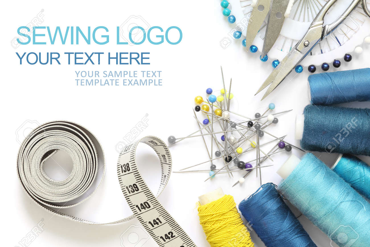 Sewing accessories template, business card type with sample logo, scissors, measuring tape, spool of thread and needle isolated and cut-out on white background. blue and yellow design - 165250172