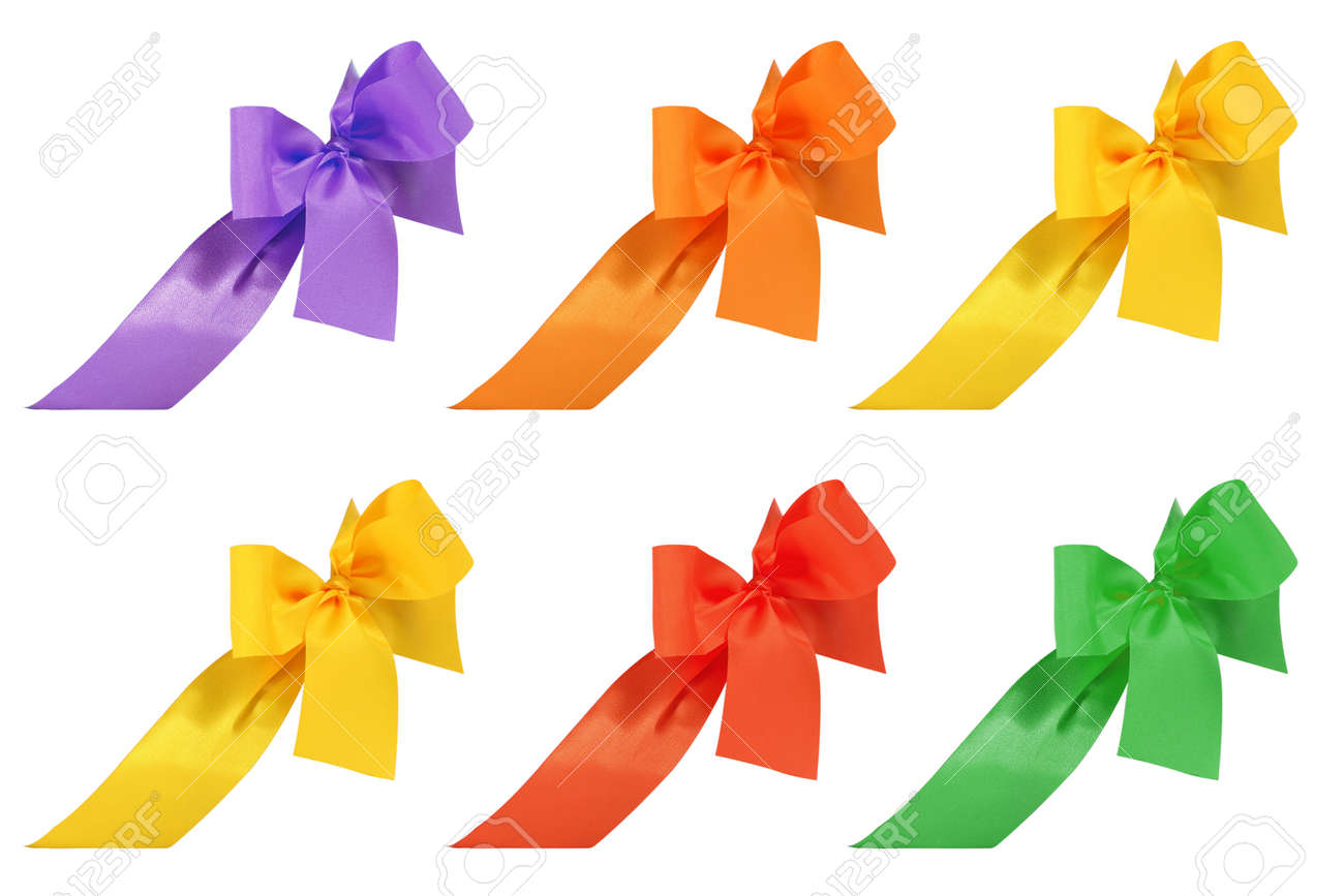 Set of multicolored decorative ribbon and bow cut out and isolated on white background - 165942418