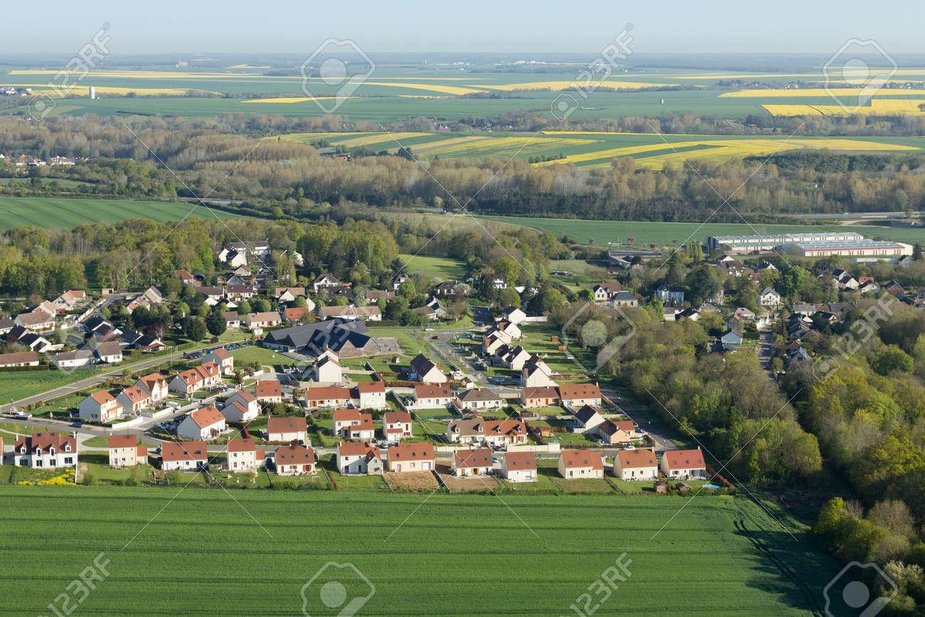 Aerial photography Le Gué-de-Longroi village, located in Beauce en Eure-et-Loir department in the Center-Val de Loire region, France. - 166832616