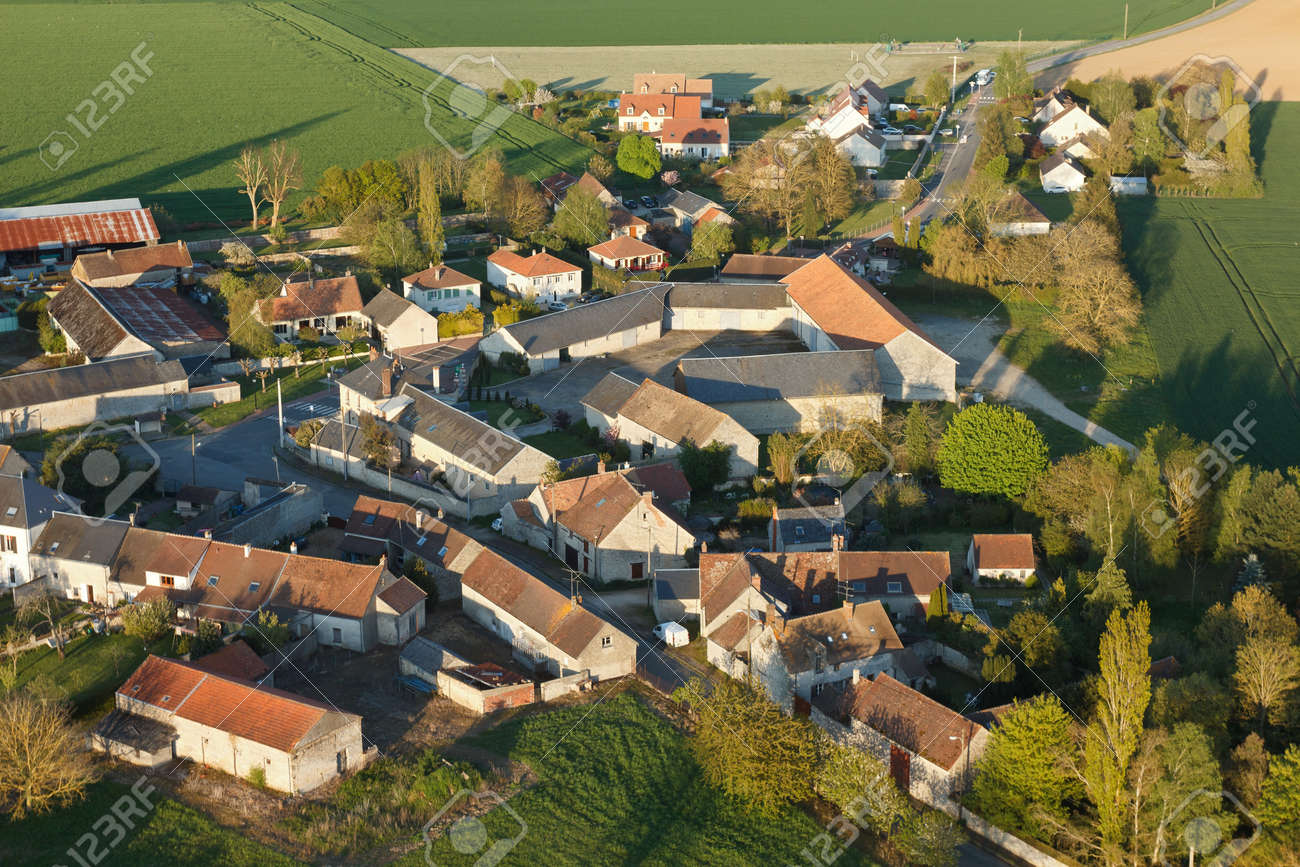Brétonville, Boinville-le-Gaillard seen from the sky in Yvelines department, Île-de-France region, France. Municipality of the natural Beauce bordering Ablis. - 166832614