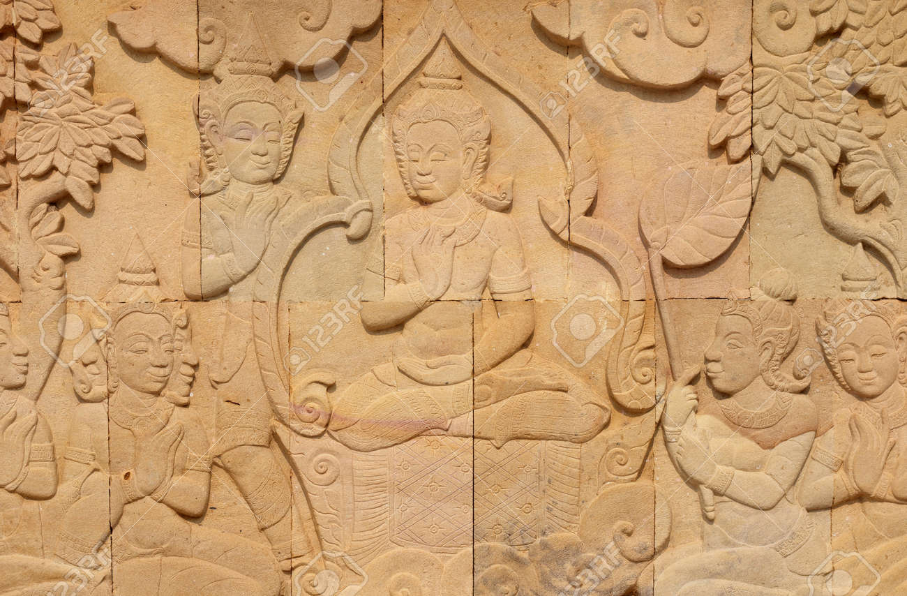 Thai Style Sandstone Carving Art On The Wall Temple Stock Photo ...