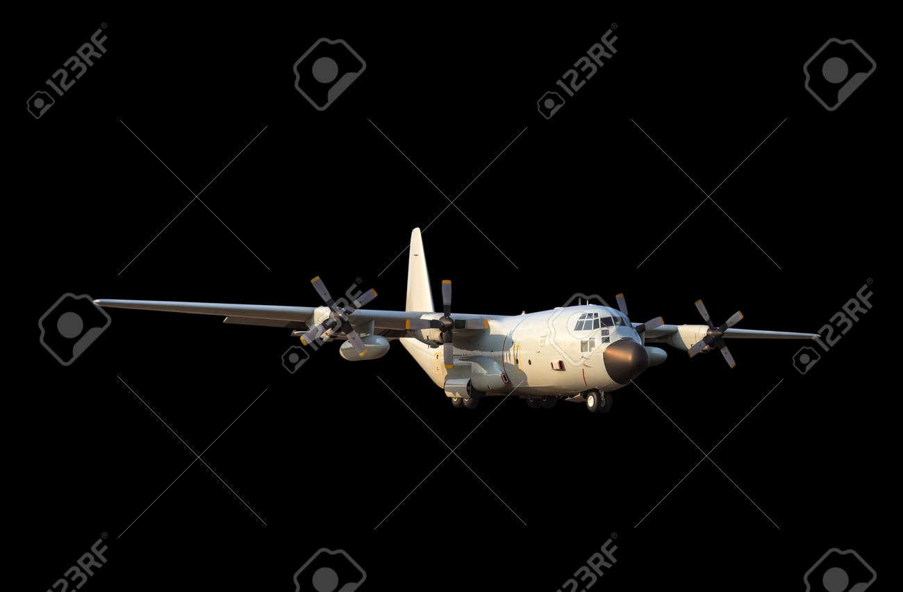 黒の背景に軍事輸送貨物機 の写真素材・画像素材 Image 56683462.