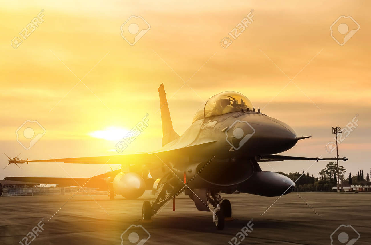 f16 falcon fighter jet military aircraft parked in airforce on