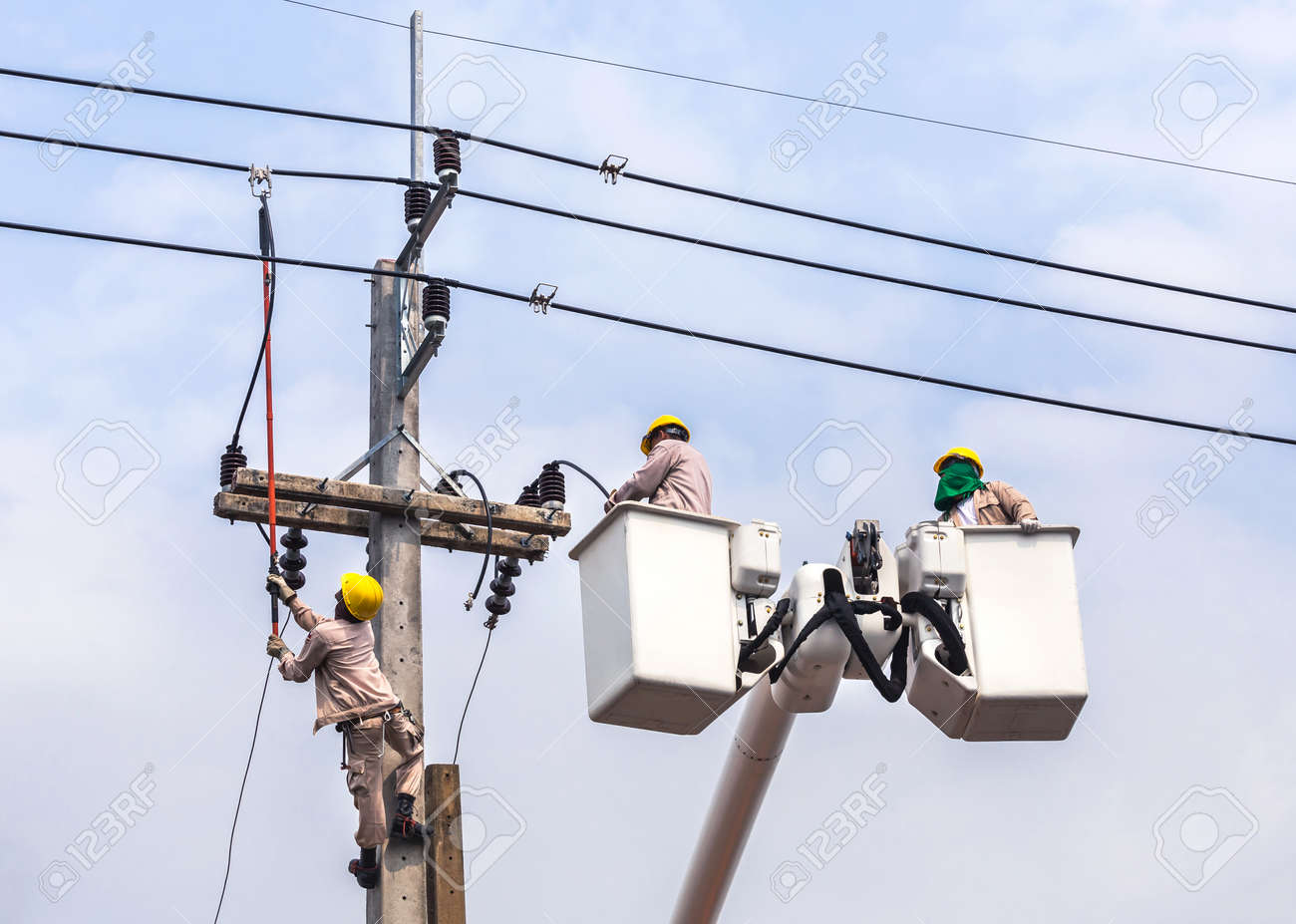 Bucket Electrical Wiring Detailed Diagrams X Y G Electricians Repairing Wire Of The Power Line With Hydraulic Work