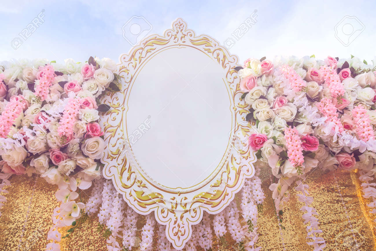 soft wedding flowers backdrop decoration with rose pattern background