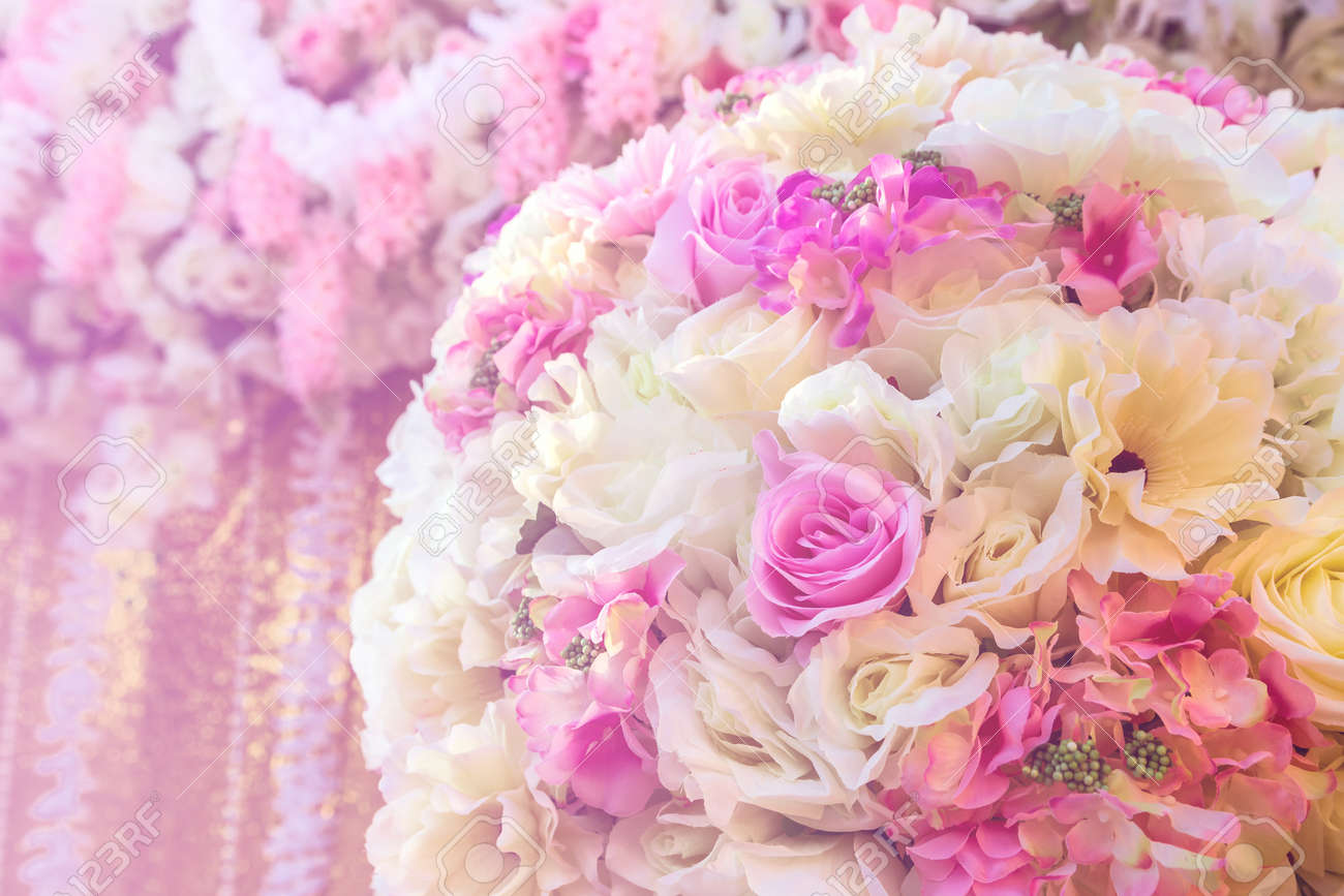 Close Up Colorful Of Soft Rose Fabric Artificial Wedding Flowers ...