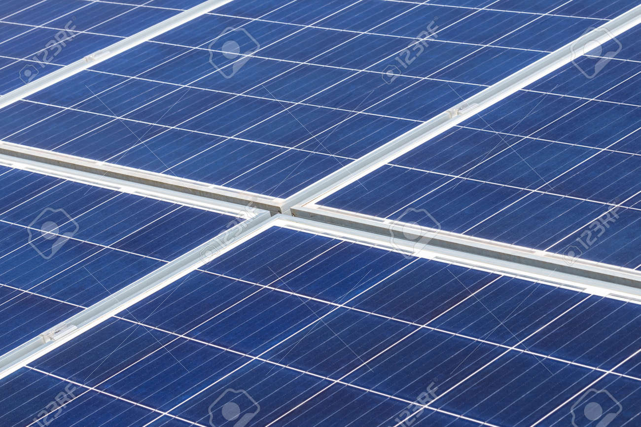 Close up rows array of polycrystalline silicon solar cells or