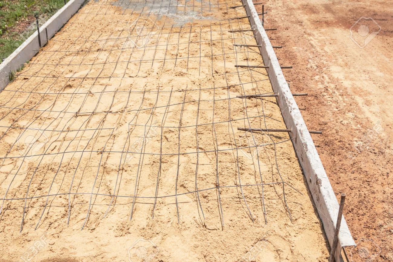 Steel reinforcing bar wire mesh before pouring concrete on road