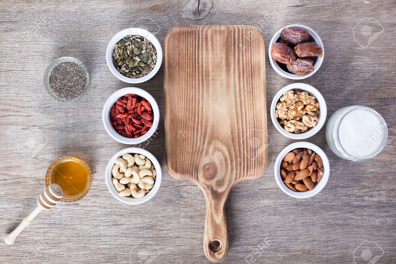 Grain free oat free paleo granola ingredients: mixed nuts, seeds,