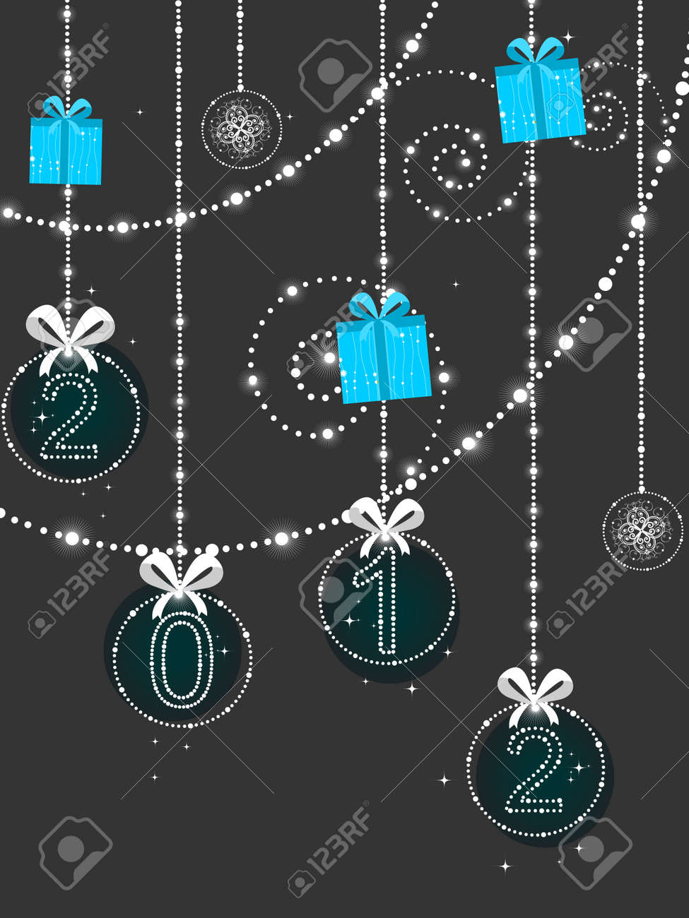 vector decorative hanging bobs, gifts elements background vector for new year Stock Vector - 11785669