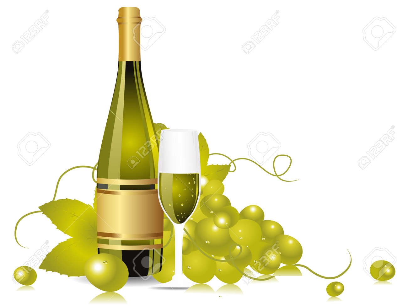 champange bottle, glass with grapesvines on white background Stock Vector - 11785641