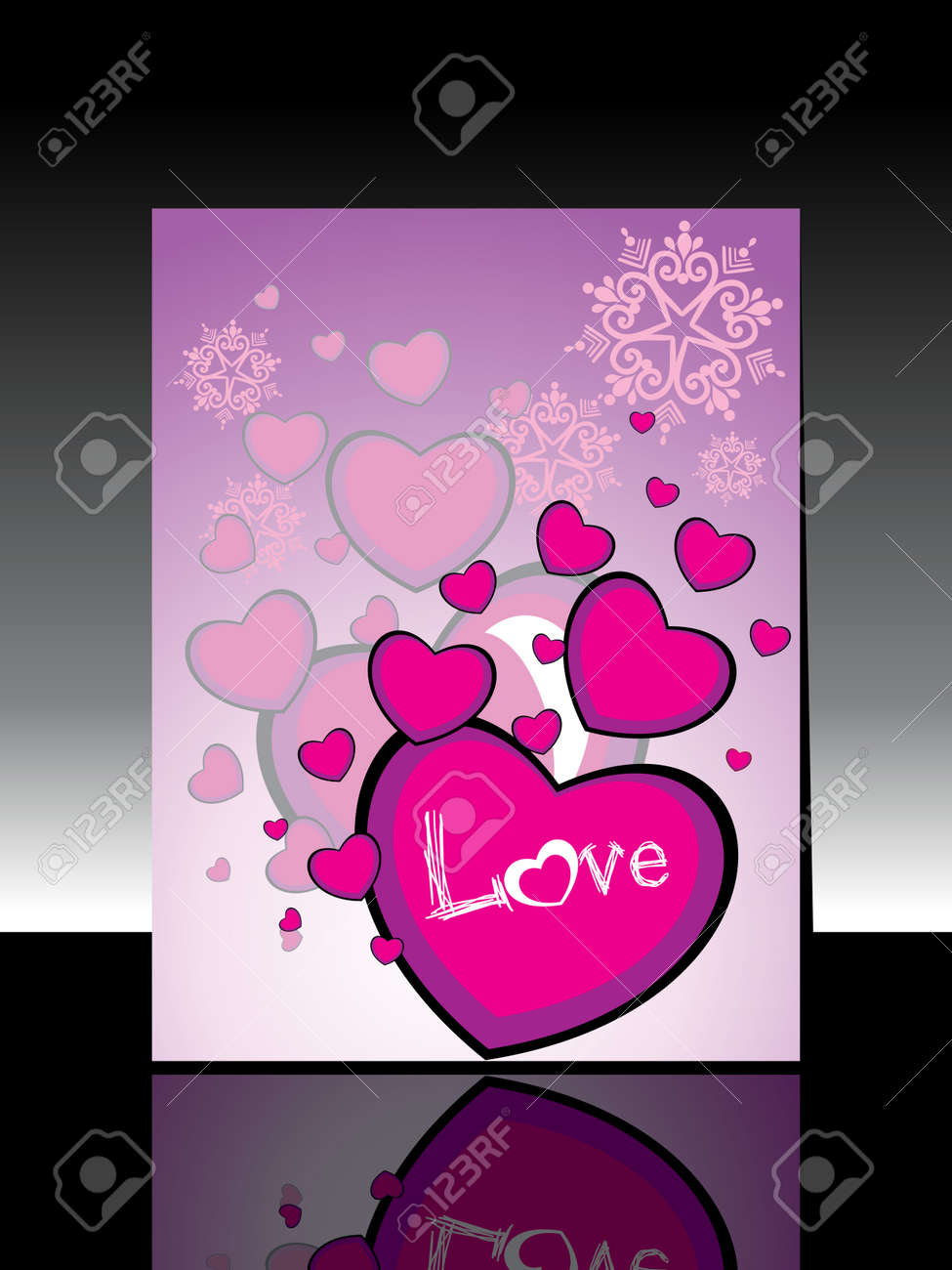 Abstract Heart Shape Concept Design With Text Love Greeting Card