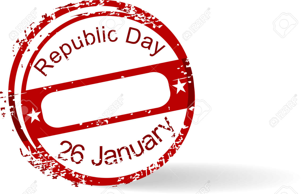 Red grunge rubber stamp of Republic Day with text 26 January on white background for Republic Day. Stock Vector - 11785705