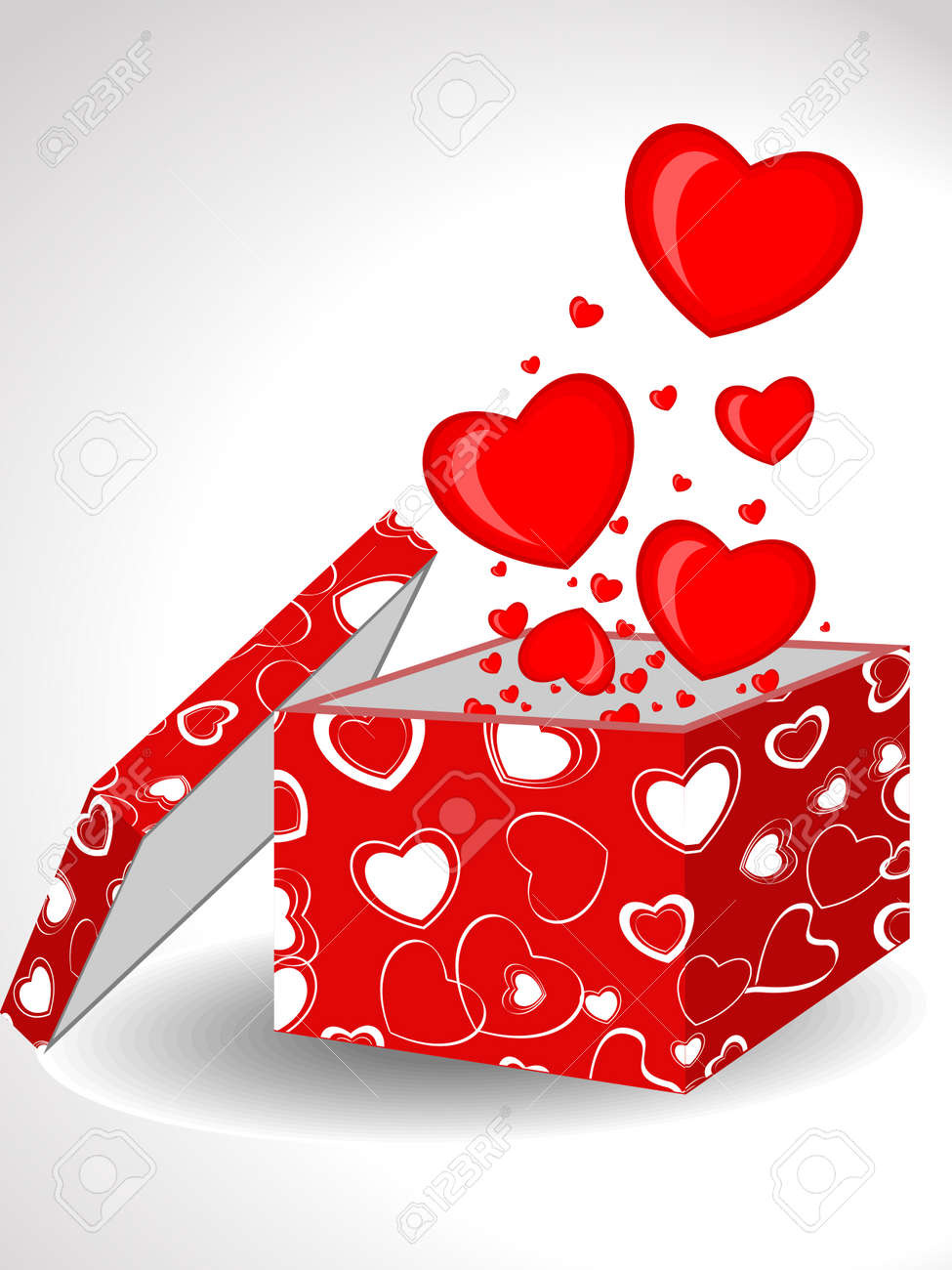Heart Shapes Coming Out Form Open Gift Box Decorated With Abstract Shape Cover In Red