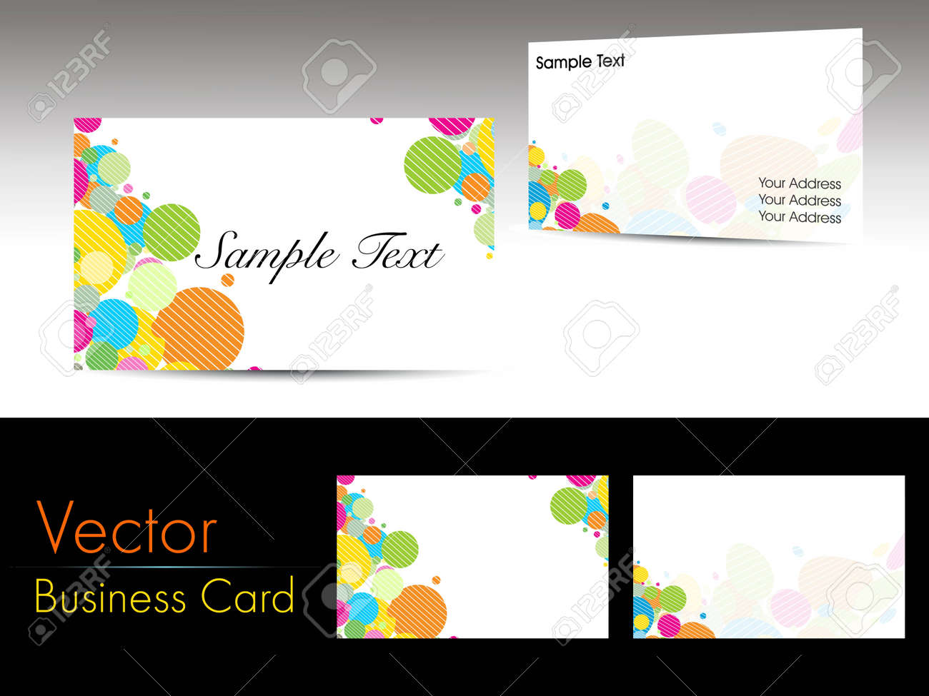 Set Of Colorful Graphic Shapes Concept Business Cards On Grey ...