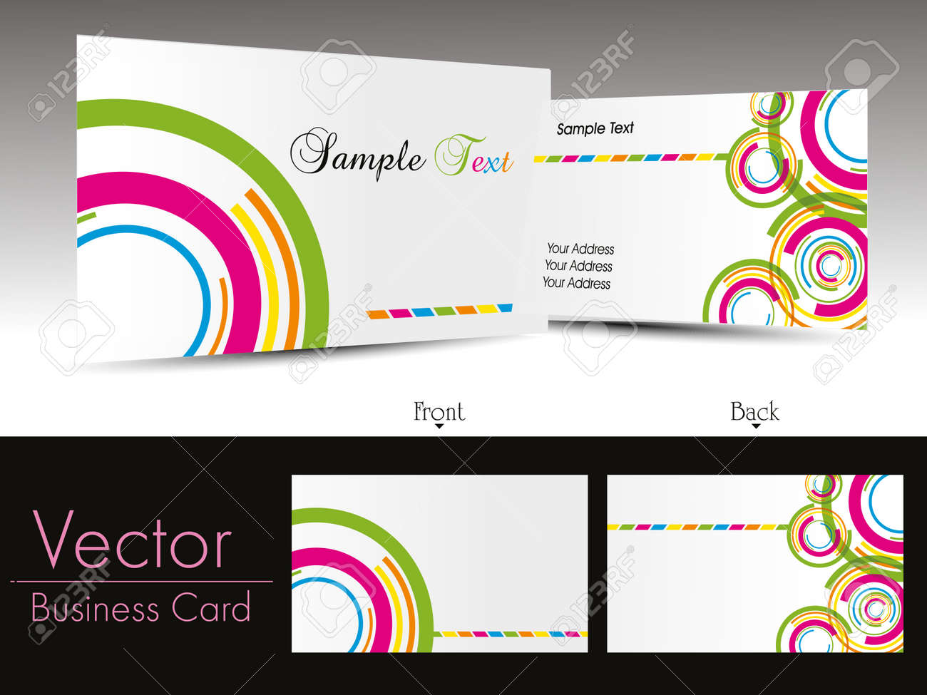 colorful circle design background business card with presentation Stock Vector - 11895148