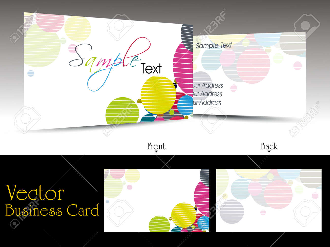 vector elegant colorful artistic design business cards with presentation Stock Vector - 11895153