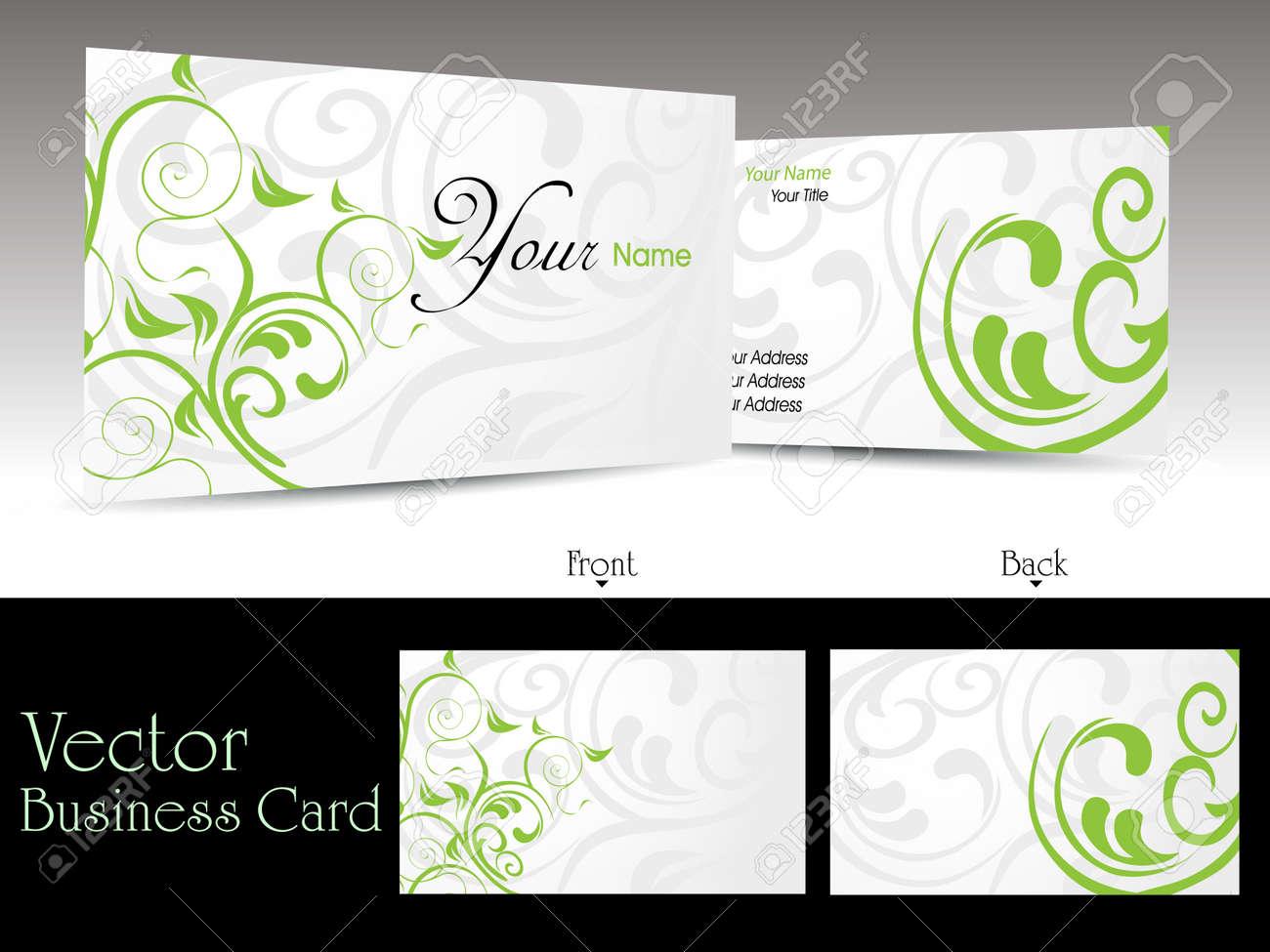 Vector Set Of Elegant Floral Pattern Business Cards Or Gift Cards ...