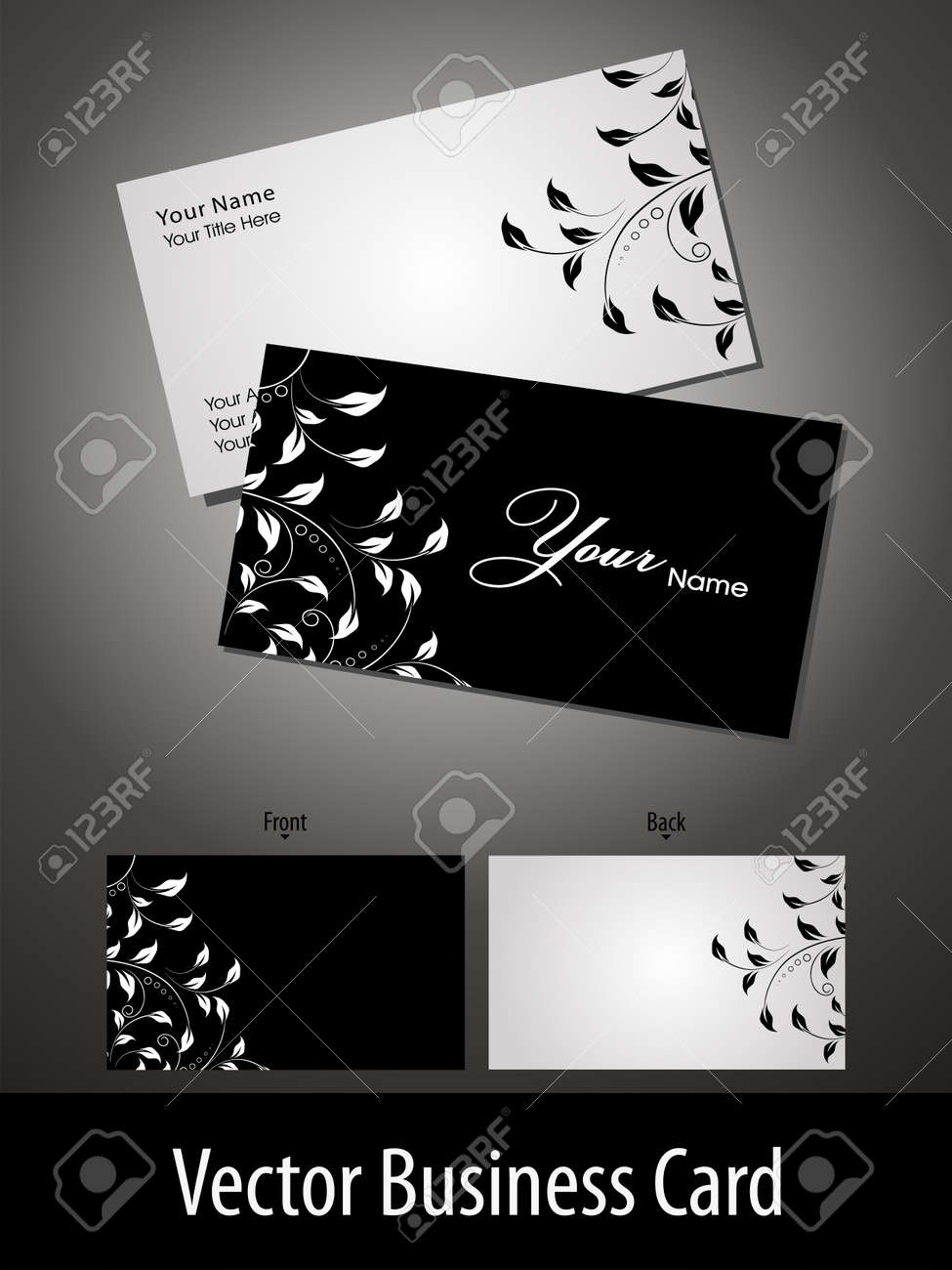 Vector Business Cards Or Gift Card With Elegant Floral Design ...