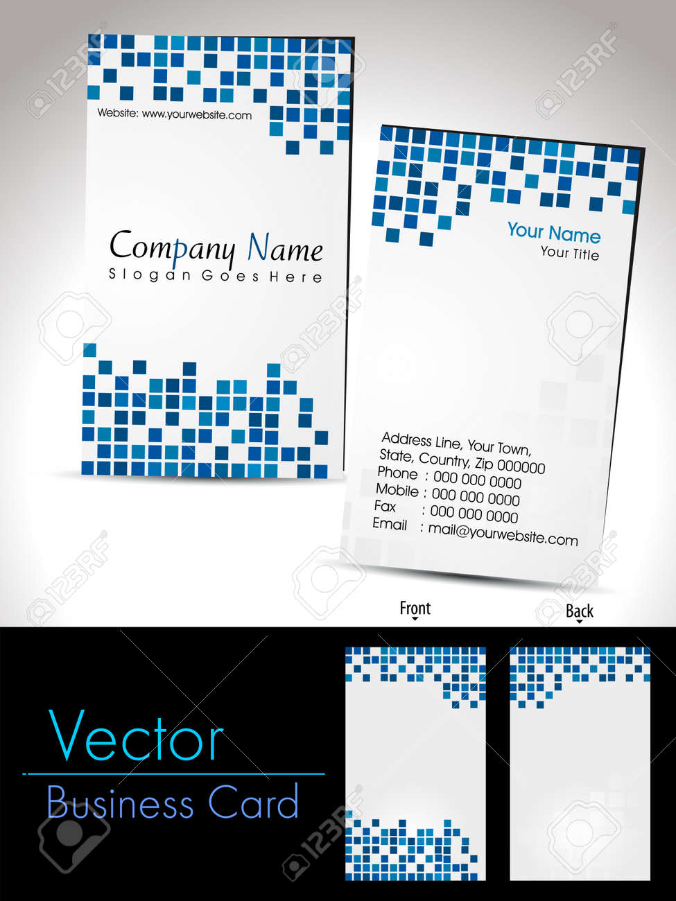 business card With blue abstract mosaic background - 11895152