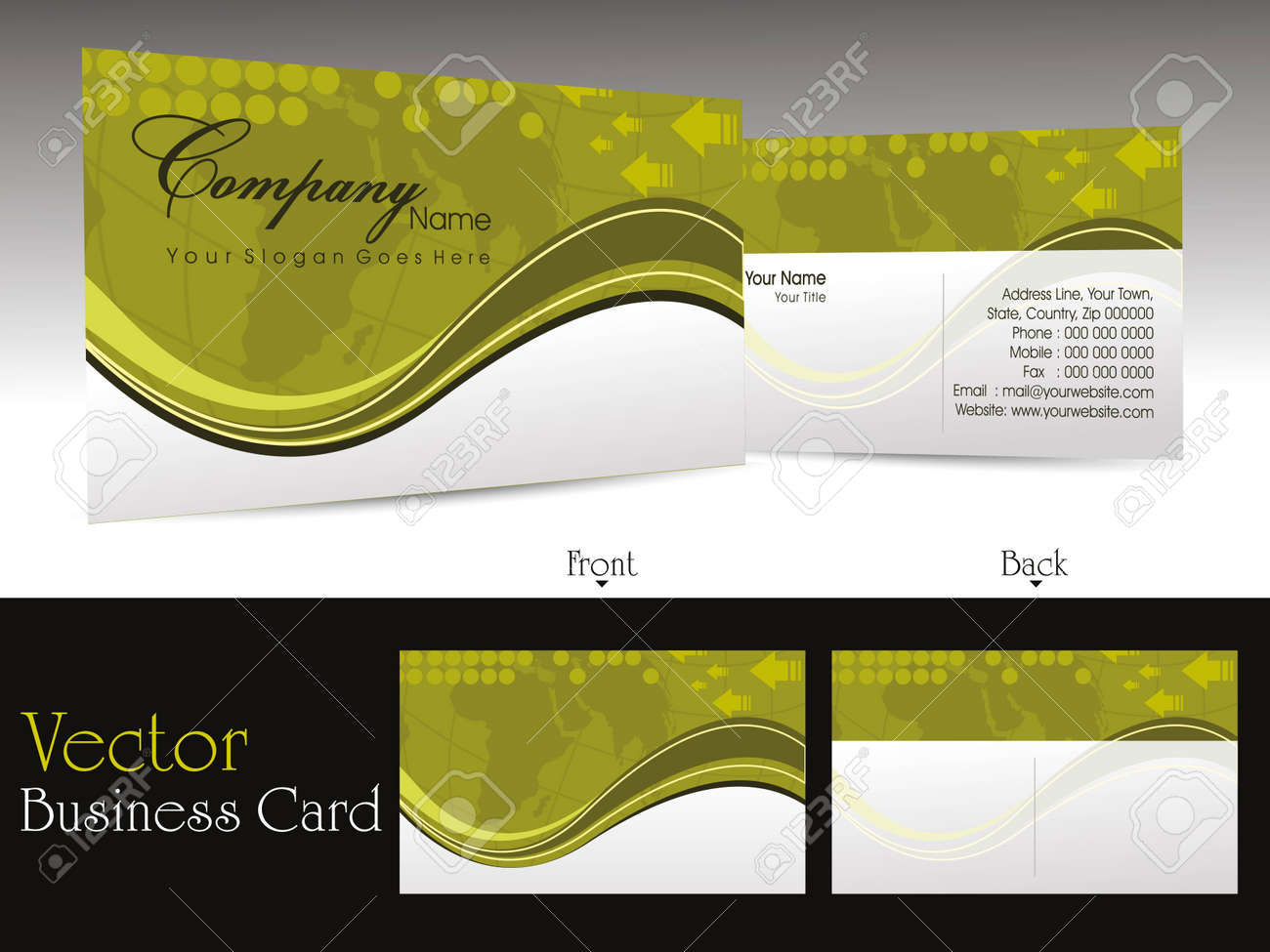 Abstract Wave And Map Theme Background Business Card For Professional