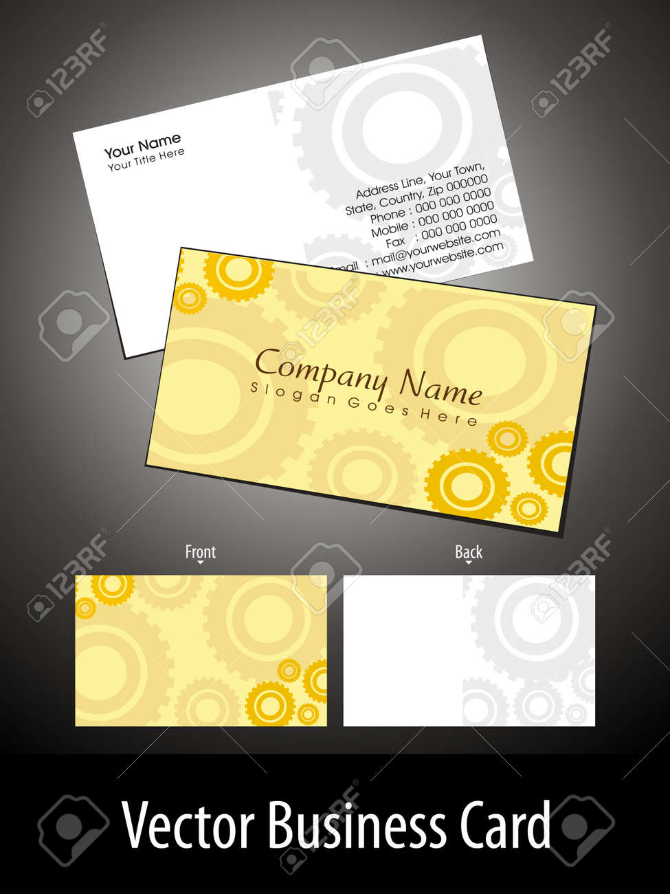 Abstract Yellow Background Professional Business Card For Technical ...