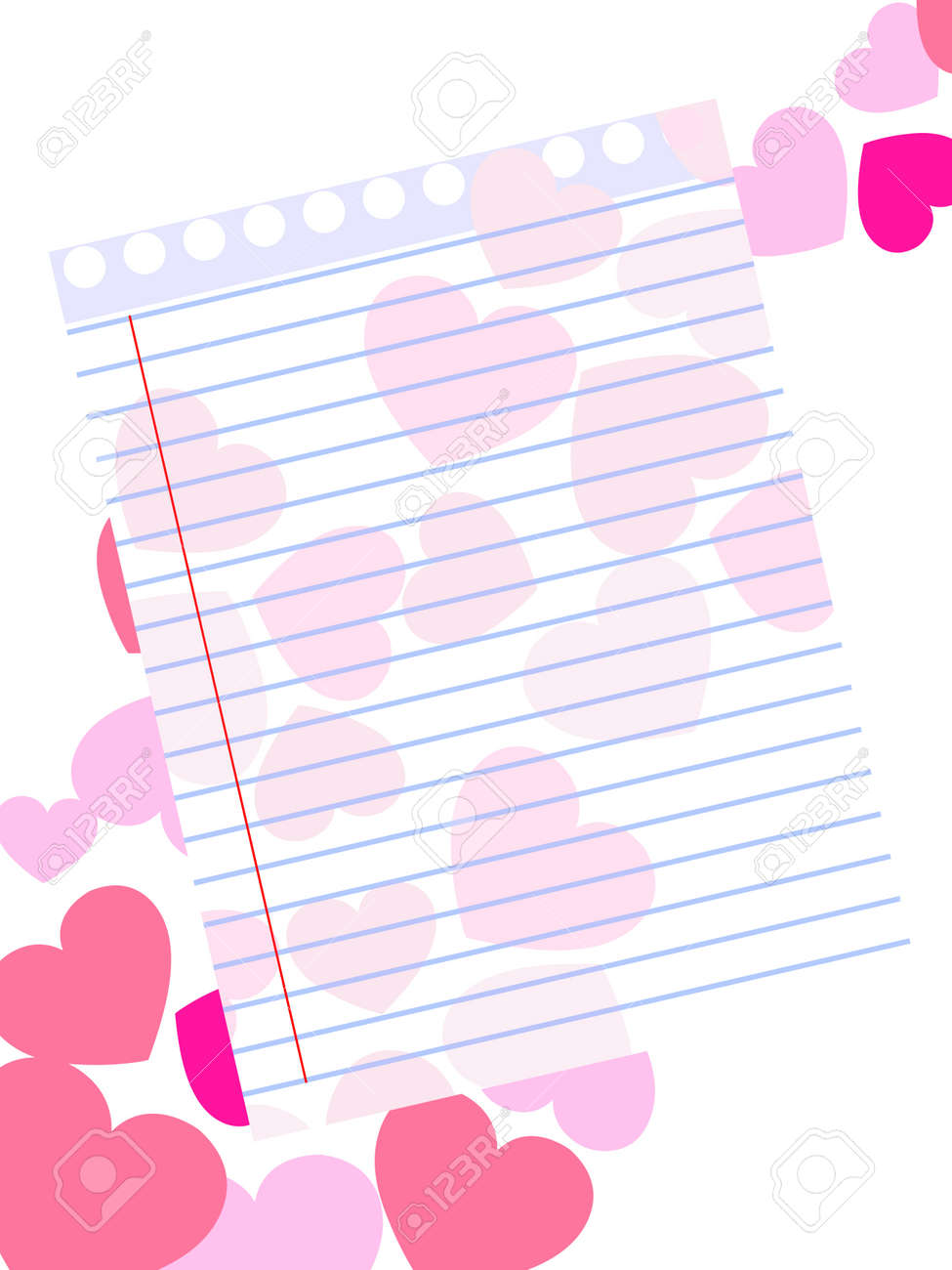 Captivating Template Of A Love Card On Pink Heart Shape Background With Blank Note  Paper For Valentines