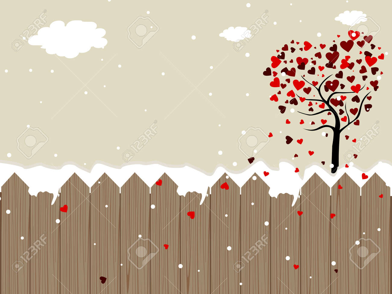 Romantic landscape background heaving valentine tree, snowflakes, clouds for Valentine Day Stock Vector - 11988470