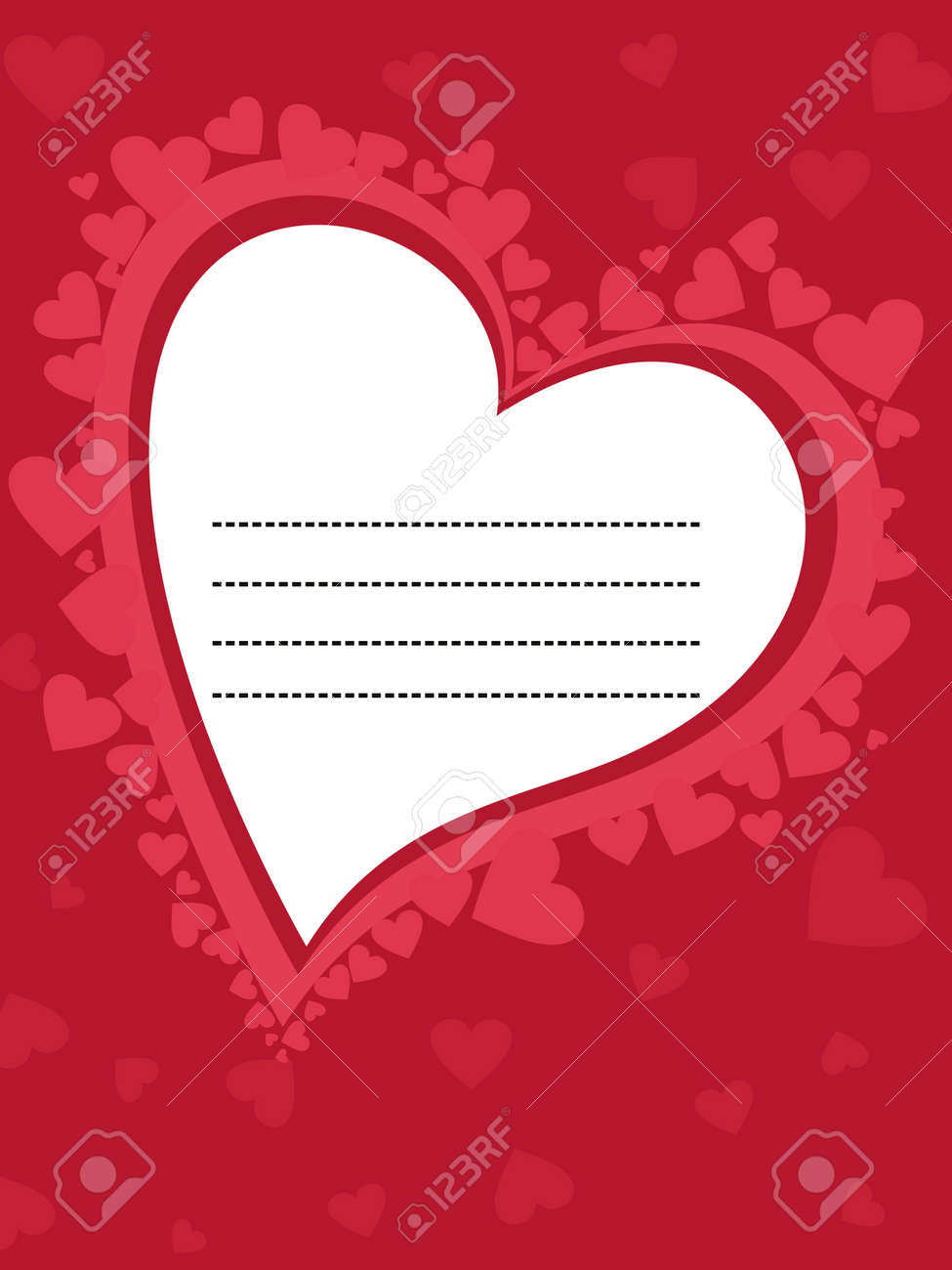 abstract romantic heart theme greeting card vector illustration