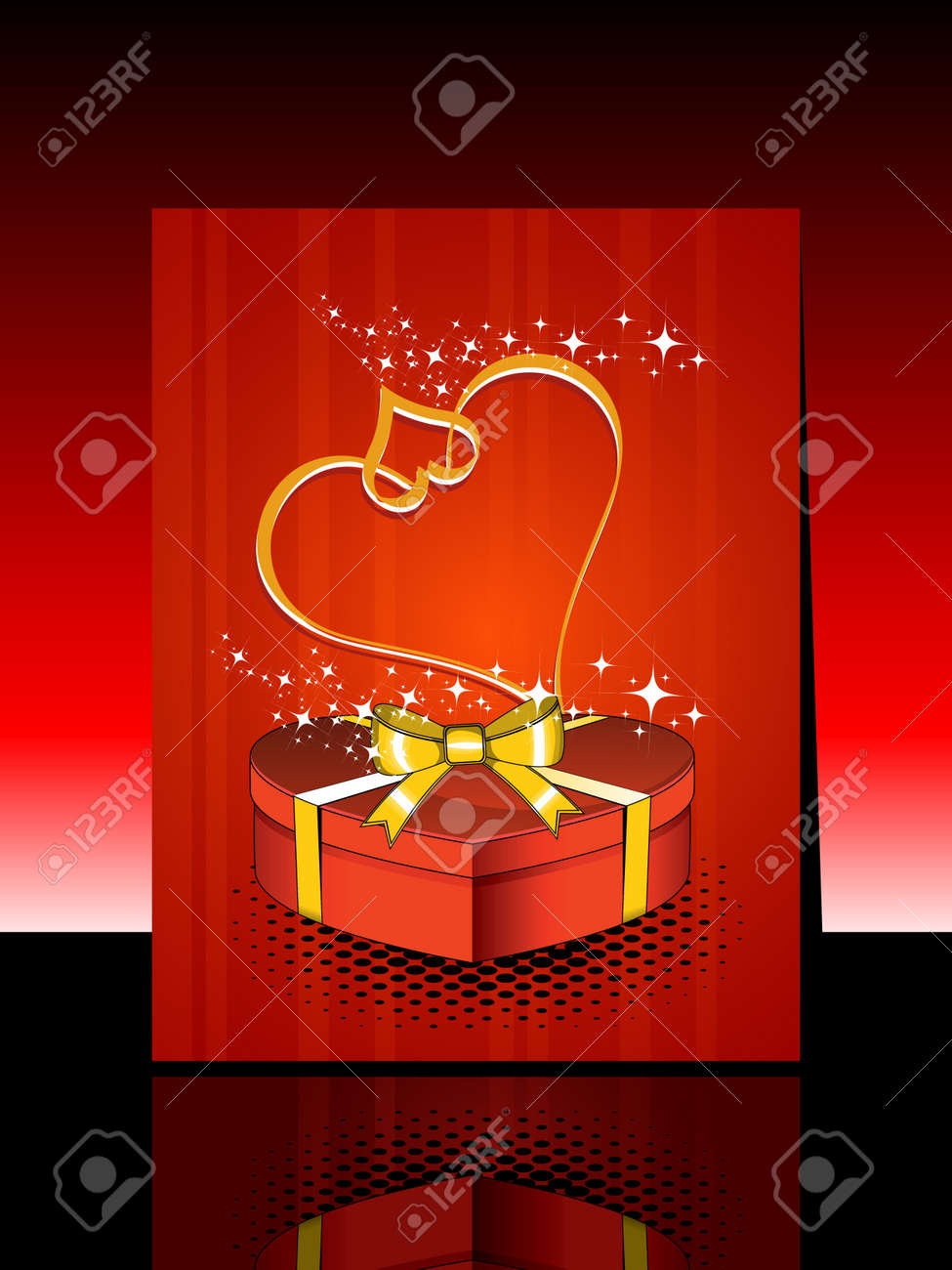 love greeting card with 3D gift & heart Stock Vector - 12015082