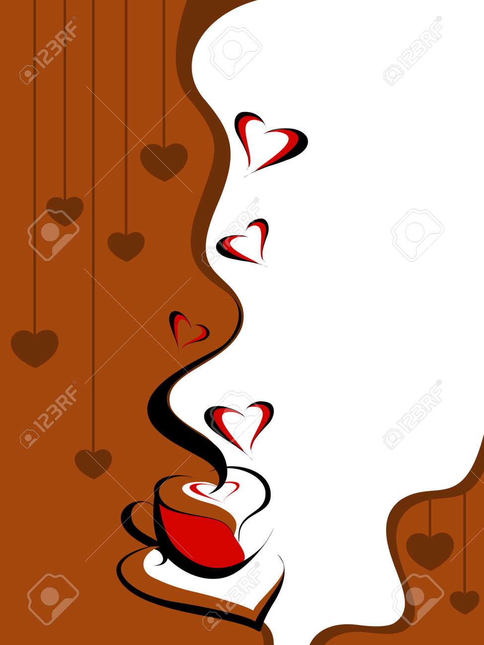 vector card with romantic coffee on hanging hearts background Stock Vector - 12015009