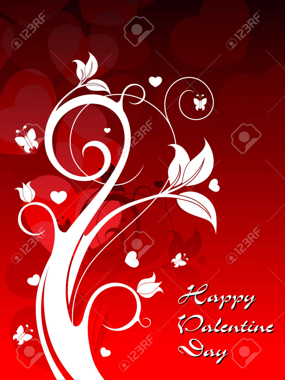 creative floral design on red heart shape background vector for valentine day Stock Vector - 12015064