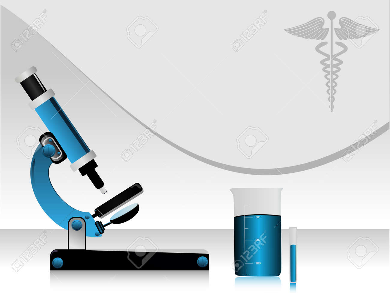 Vector illustration of a medical high tech science abstract background, with microscope, beker, medical symbol Stock Vector - 12487780