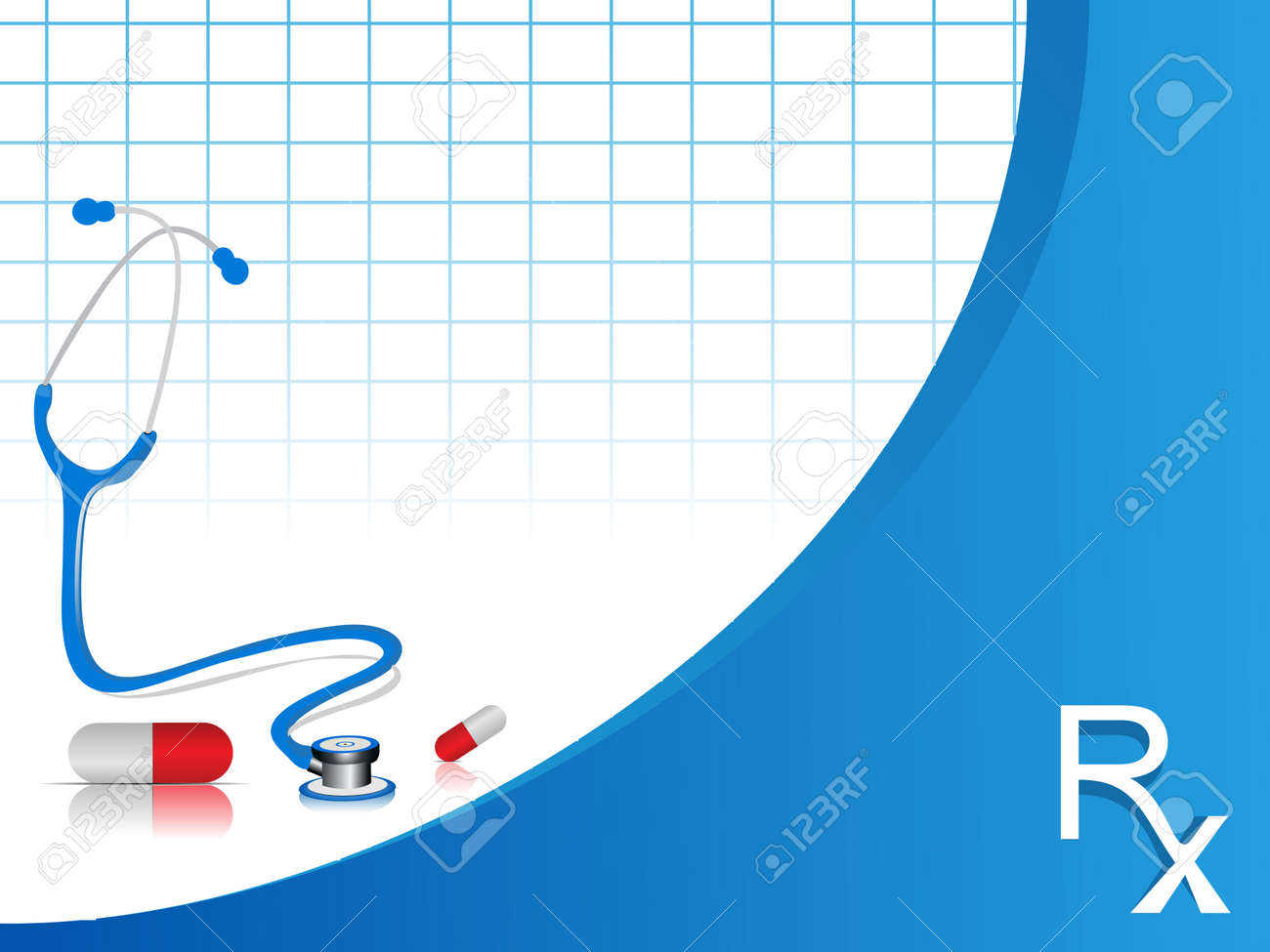vector stethoscope illustration with pills on blue and white color  background. Stock Vector - 12487394