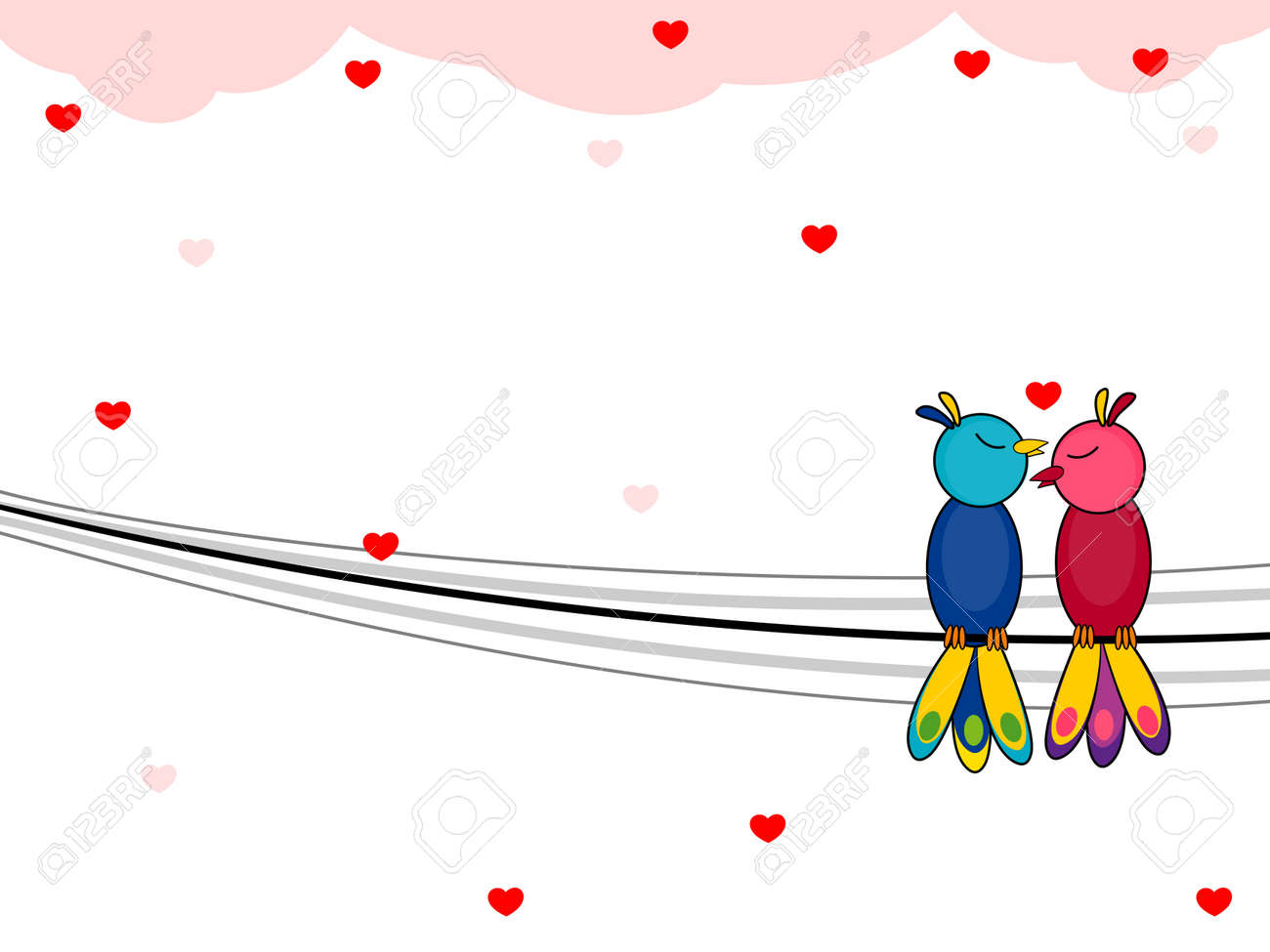 Vector Illustration Of A Love Bird Sitting On A Wire Background ...