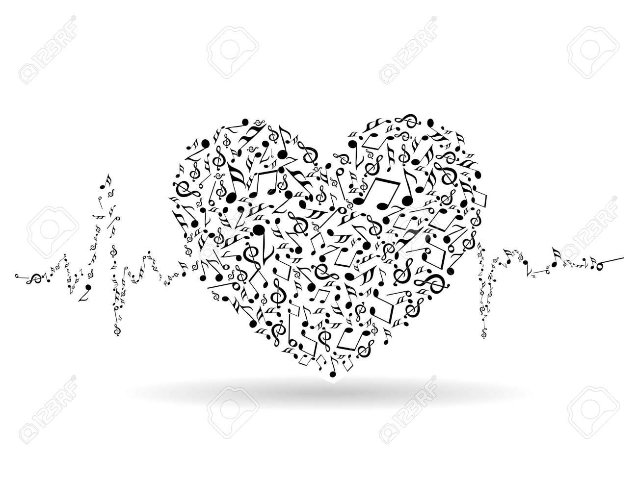 Eine Schöne Valentinskarte Mit Musikalischen Herzform Und ...