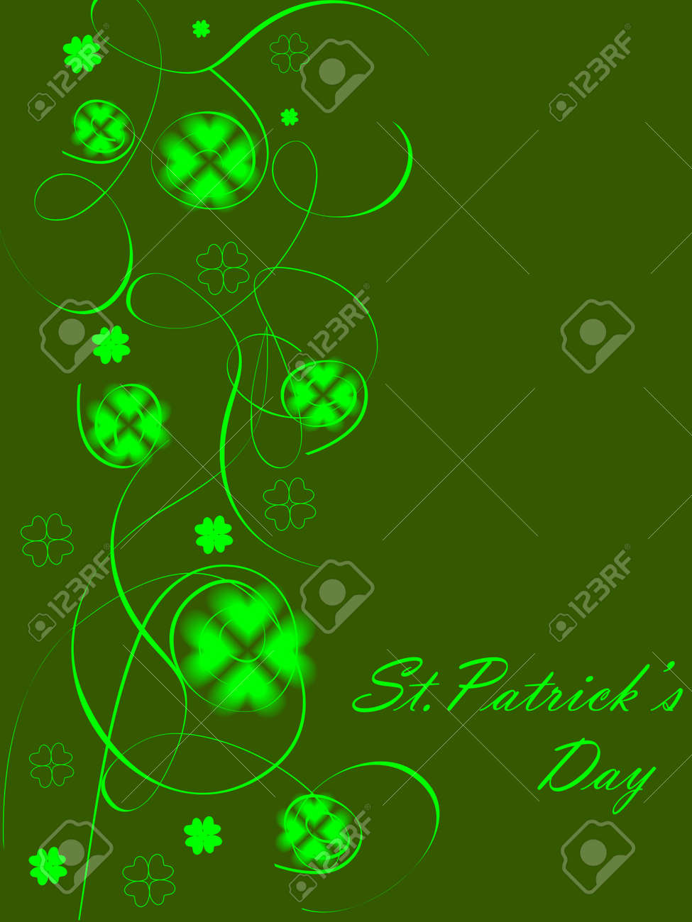 green abstract background design with clovers for St. Patrick Stock Vector - 12487893