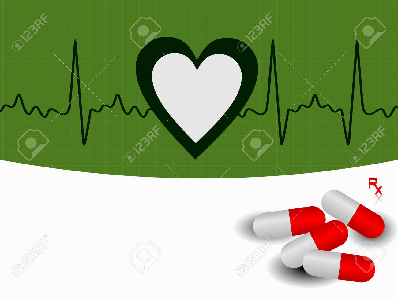 vector Heart beat  illustration with red pills on green background. Stock Vector - 12487760