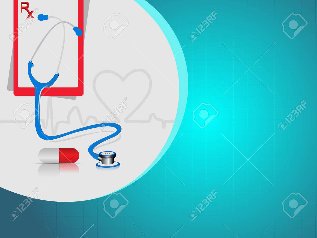 vector illustration with medical background having heart beat, red pills ,stethoscope and diagnostic letter on blue. Stock Vector - 12487767